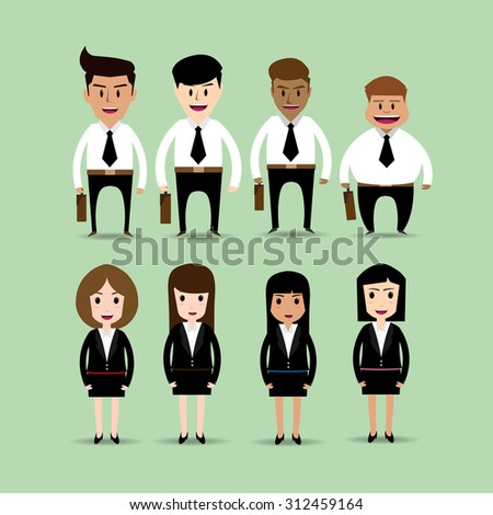 set of businessman and businesswomen cartoon character vector - stock vector