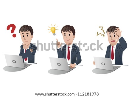 Set of businessman at a laptop computer, with question mark, with idea bulb, getting nervous in trouble on white background, isolated, cartoon - stock vector