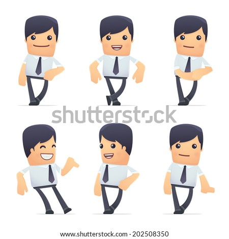 set of businessman character in different interactive  poses - stock vector