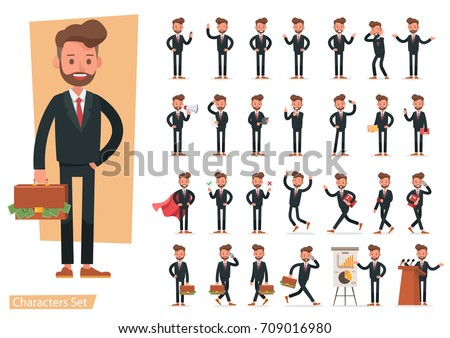 Set of Businessman character vector design.
