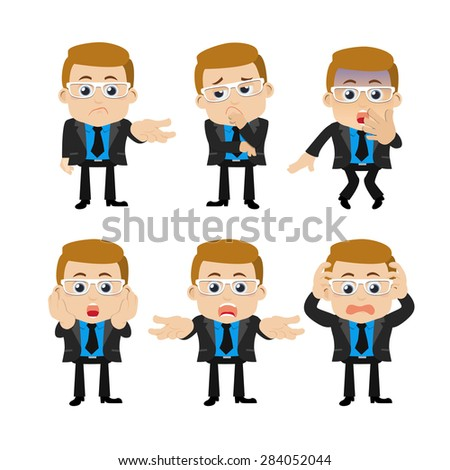 Set of businessman characters in different poses