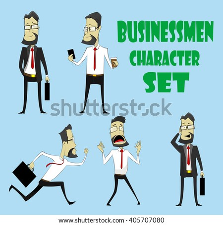 Set of businessman characters poses and emotions. He speaks on the phone, looking at smart phone, running, panicking, just standing. Vector  - stock vector