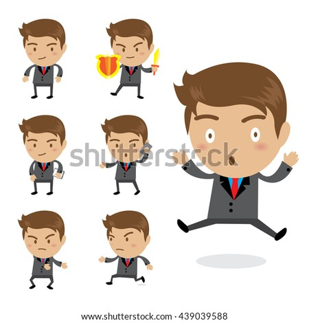 Set of businessman characters poses , vector