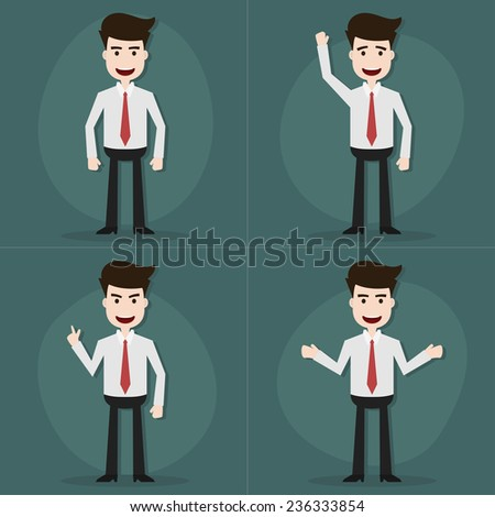 Set of businessman characters poses,Vector EPS10.