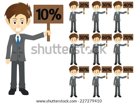 Set Of Businessman Holding A Discount Board - stock vector
