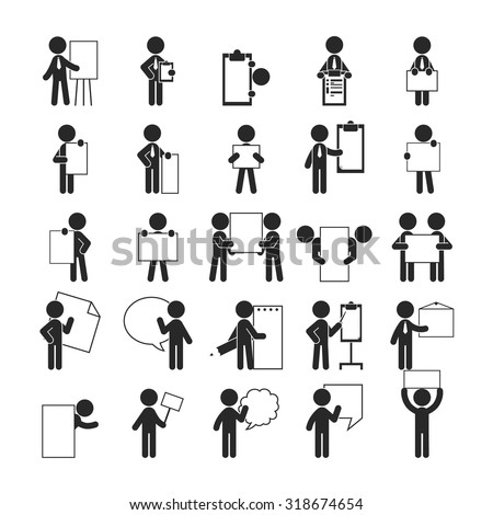 Set of businessman holding blank notes , Human pictogram Icons , eps10 vector format