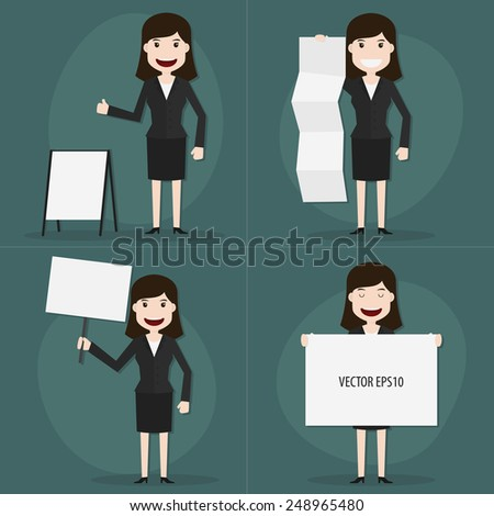 Set of businessman holding blank sign characters poses,Vector EPS10. - stock vector