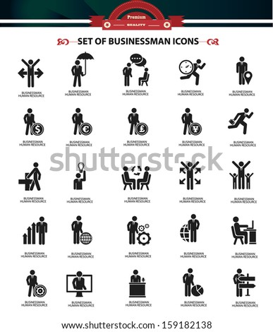 Set of Businessman icons,Black version,vector