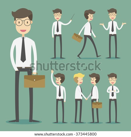 Set of businessman in various poses and expressing feeling and emotion - stock vector
