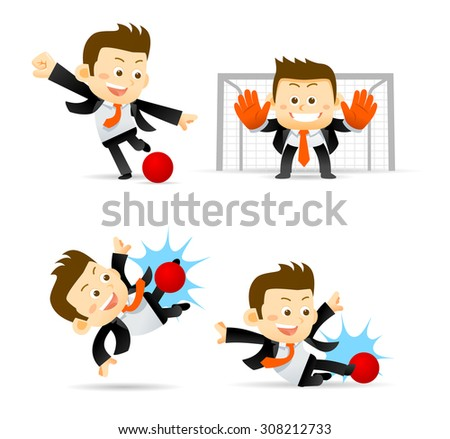 Set of Businessman playing soccer ball isolated in white