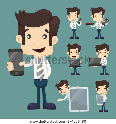 Set of businessman show tablet and smart phone characters poses , eps10 vector format - stock vector