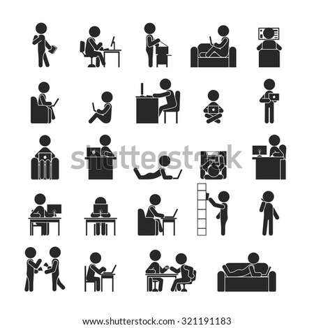 Set of businessman working , Human pictogram Icons , eps10 vector format