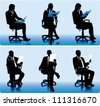 Set of businessmen silhouettes in office chairs. - stock vector