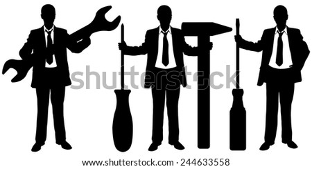 set of businessmen with big tools - stock vector