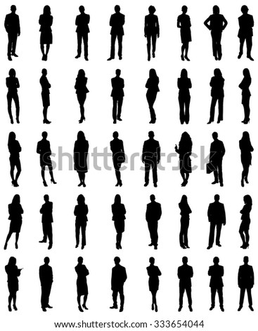Set Of Businesspeople Icons Silhouettes. Vector Image - stock vector