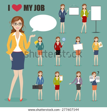 set of businesswoman with job at office character - stock vector