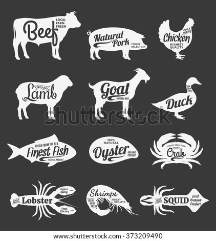 Set of butchery and seafood logo. Farm animals and seafood with sample text.Farm animals and seafood silhouettes collection for groceries, meat stores, seafood shop and advertising.
