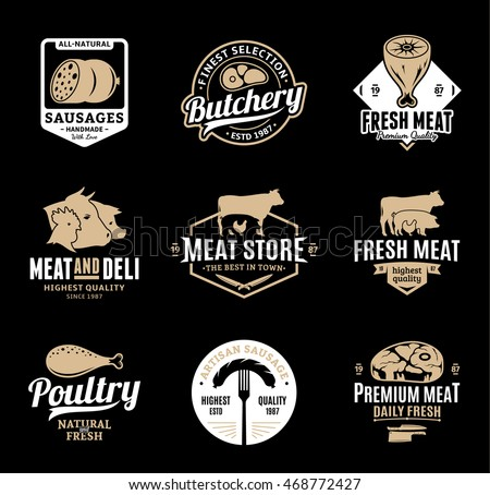 Set of butchery gold and white logo, icons and design elements on black background for grocery, food labels and meat store branding and identity.