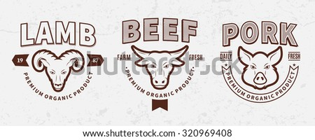 Set of butchery logo templates. Butchery labels with sample text. Butchery design elements and farm animals icons for groceries, meat stores, packaging and advertising. - stock vector