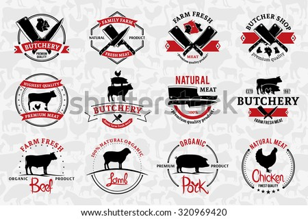 Set of butchery logo templates. Butchery labels with sample text. Butchery design elements and farm animals silhouettes for groceries, meat stores, packaging and advertising. - stock vector