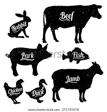 Set of butchery logo templates. Farm animals with sample text. Retro styled farm animals silhouettes collection for groceries, meat stores, packaging and advertising. Vector logotype design. - stock vector