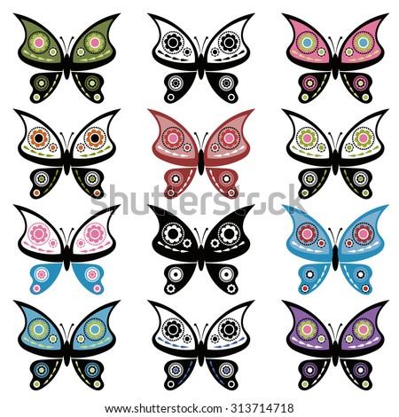 set of butterflies - stock vector