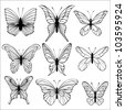 Set of butterflies isolated on white background. Vector - stock vector