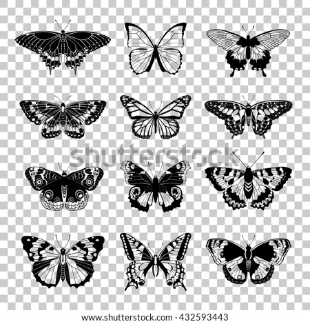 Set of butterflies silhouettes. Butterfly isolated on transparent background. Black silhouettes of butterflies. Graphic icons of butterflies. Vector illustration