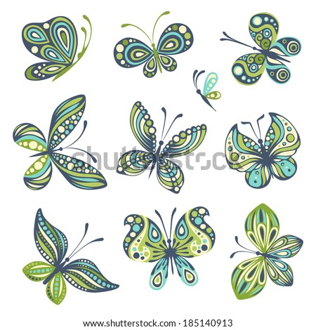 Set of butterflies. Ten butterflies isolated on white background