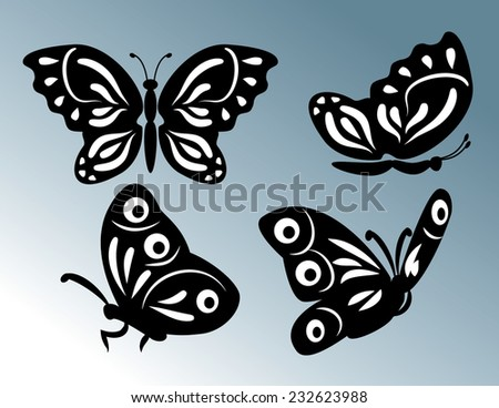 set of butterfly illustration - stock vector