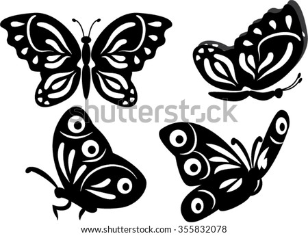 set of butterfly isolated illustration - stock vector