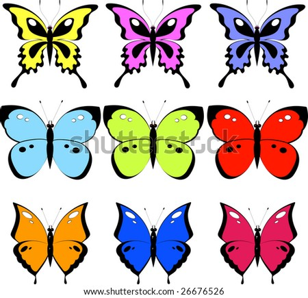 Set of 9 butterfly, isolated on white, vector