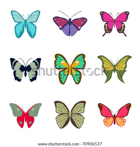 Set of Butterfly, Vector Illustration. - stock vector