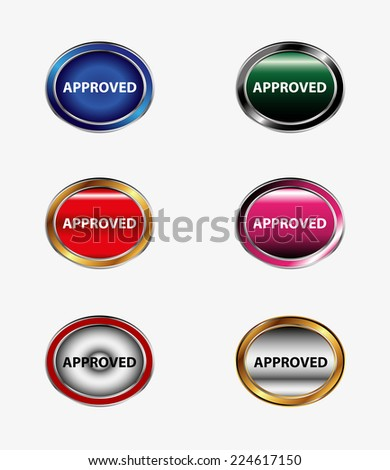Set of button Approved icon  - stock vector