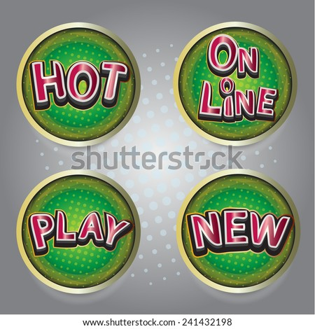 Set of button icons on line play Hot New - stock vector