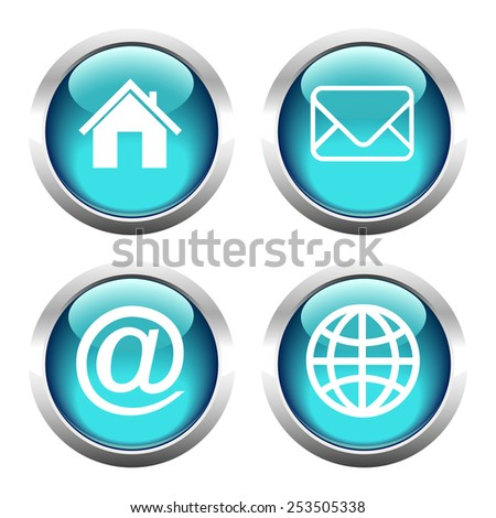 Set of buttons for web, home, email, envelope, globe. Vector.