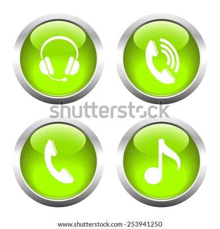 Set of buttons for web, phone, headphones, music. Vector. - stock vector