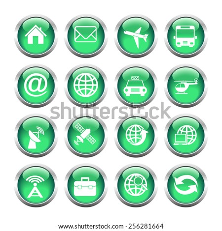 Set of buttons for web, tablet, smart-phone. tools, camera, flash drive. Vector. - stock vector