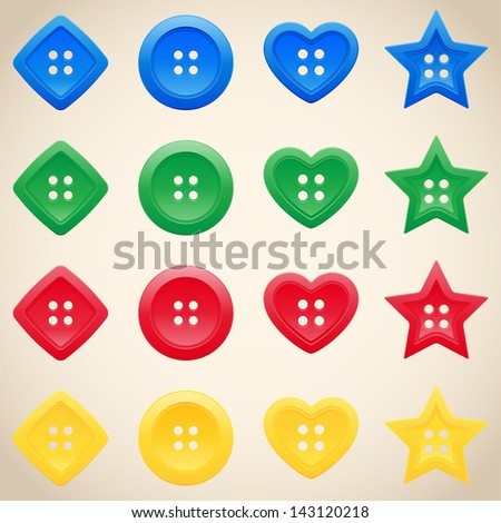 Set of buttons in different colors - stock vector