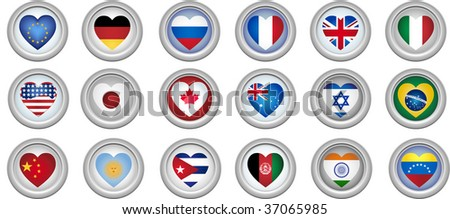 Set of 18 buttons of several countries heart shaped flags - stock vector