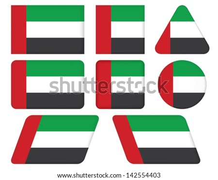 set of buttons with flag of United Arab Emirates