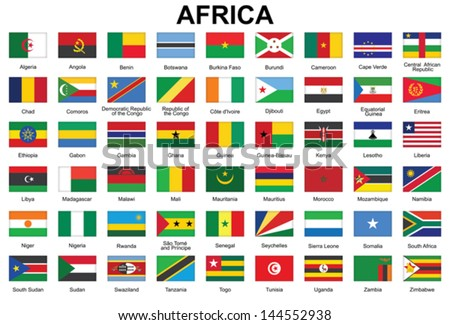 set of buttons with flags of Africa - stock vector