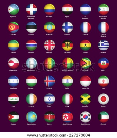 Set of buttons with flags part II - stock vector