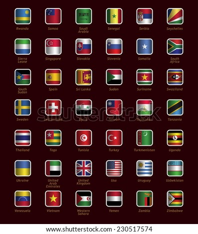 Set of buttons with flags part R-Z - stock vector