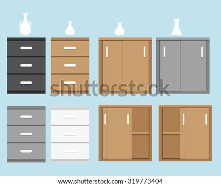 Set of cabinet in flat style and white silhouette vase. isolated object - stock vector