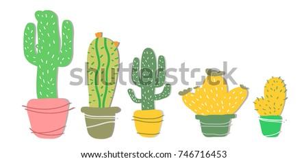 Set Cactus Pot Modern Cactus Illustration Stock Vector 746716453