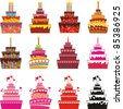 Set of Cake icons. Isolated on white background. Vector illustration - stock vector