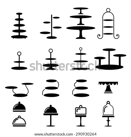 Set of cake stand in silhouette flat icon style - stock vector