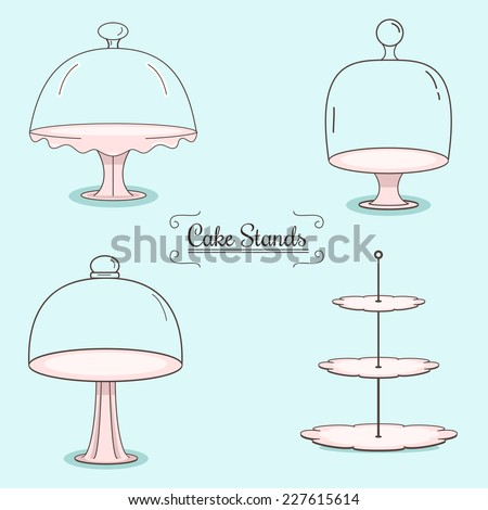 set of cake stands - stock vector