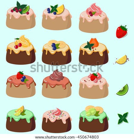 Set of cakes